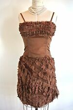 POL ATTEU 2pc ladies Brown Dress Ruffled Tank fitted sexy Handmade Holliday S
