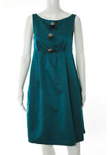 MOSCHINO CHEAP AND CHIC Green Wool Large Steel Buttons Pleated Front Dress Sz 8