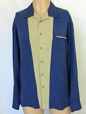 Nat Nast Luxury Originals Long Sleeve Blue & Beige Silk Shirt Men Size Medium M