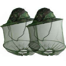 Lot 2 Mosquito Fly Insect Bee Fishing Mask Face Protect Hat Net Camouflage
