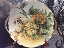 "Beautiful Vintage T & V LIMOGES Hand Painted Cake Platter 11"" Signed AHJ"