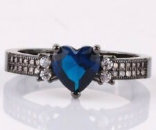 NEW Size9 love sapphire CZ Fashion Black 18K Gold Filled Rings 2.10ct H09