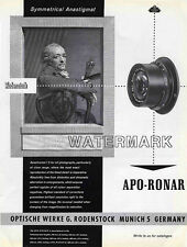 Rodenstock APO-Ronar Lens Advertisement, 1958: Original Vintage Ad