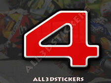 3D Stickers Resin Domed NUMBER 4 FOUR - Color Red - 25 mm(1 inch) Adhesive