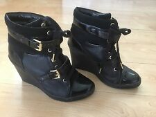 MICHAEL KORS Black Patent LIZZIE Hi High Top Wedge Platform Sneakers Booties