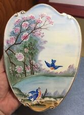 Lefton Hand Painted Porcelain Summer Wall Plate #4927 Blue Birds Cherry Blossoms