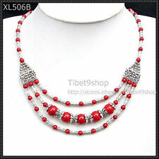 FASHION JEWELRY TIBET SILVER Red Coral BEADS NECKLACE