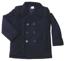 US Vintage Navy Pea Coat Marine Army Cappotto Corto Giacca Cappotto BLUE BLU L/Large