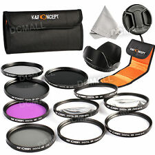 52mm Lens Filter Kit UV CPL FLD Macro Close up ND 2 4 8 For Canon Nikon Sony