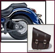 Seitentasche aus braunem Leder { für Harley softail fatboy intruder VN schatten