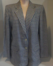 RALPH LAUREN Womens 2 Button Suit Blazer Jacket Sz 10 Medium Linen Blue Stripe