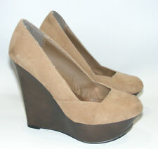 "Women's Qupid 4"" Brown Platform Wedge Heels Shoes Size 6 M Close Toe"