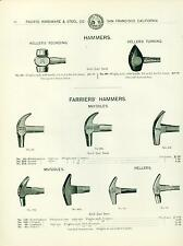 Catalog Page Ad Hammers Prospectors Shoemakers Bricklayers Cooper Farrier 1902