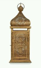 Large Arabian Moroccan Ornate Vintage Lantern Gold Tall Metal 36cm Indian Rare
