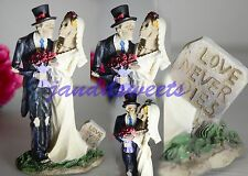 Love Never Dies Wedding Cake Topper Skeleton -Bride-Groom-Halloween Figurine