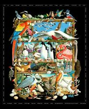 Birdwatching Bird Breeds Cotton Quilting Fabric Panel or Wall Hanging