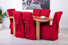 Set of 8 Red Linen Fabric Dining Chair Covers for Scroll Top High Back Leather