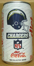 DIET COCA-COLA, Coke Soda CAN 1993 SAN DIEGO CHARGERS, NFL Football Team Grade 1
