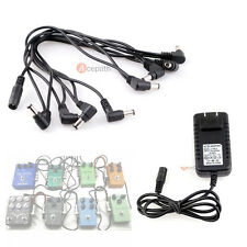 Guitar Effects Pedal 8CH Multi-Plug Daisy Chain Cable with 9V DC Adapter US Plug