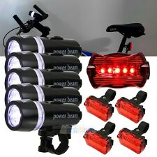 5x 5 LED Lamp Bike Bicycle Front Head Light + Rear Safety Waterproof Flashlight