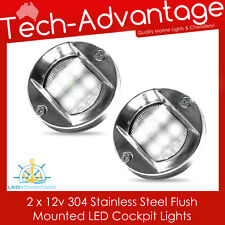 2 X 12V STAINLESS STEEL FLUSH MOUNTED CABIN COCKPIT TRANSOM BOAT YACHT LED LIGHT