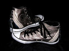 Converse All-Star Chuck Taylor Hi-Top Leather Platinum Gold Zipper Woman Sz 7.5
