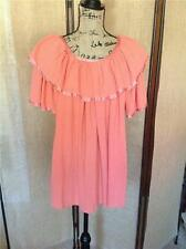 VINTAGE 70's Boho India Cotton Gauze Hippie Ruffle Orange Top Blouse Size M/L!