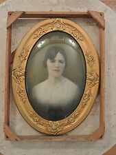 Vtg Convex Bubble Glass Oval Gesso on Wood Picture Frame with Original Crate