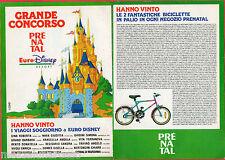 Pubblicità Advertising PRENATAL 1992 Concorso EuroDisney