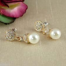 E5 Bridal Prom Vintage Style Gold Plated Crystal Pearl Dangle Stud Earrings