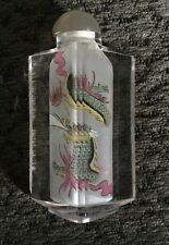Chinese Glass Snuff Bottle Hand Painted interior Jade Stopper