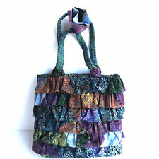 Hand Made Batik Fabric Bag Purse Tote Ruffled Quilted Tie Dye