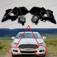 Front Fog Light Lamps w/Gloss Black Bezels Kits for Ford Fusion Mondeo 2013-2016