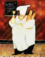 French Kitchen Art Poster/Print/Fat Chef Holding Bread/ 16x20 inch