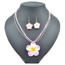 Wholesale 1 Set Costume Pink Clay Fimo Frangipani Necklace Earrings Jewelry Set
