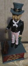Vintage Cast Iron Metal Hand Painted Mechanical Uncle Sam Coin Piggy Bank
