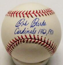 "Cardinals BOB BURDA Signed MLB Baseball AUTO w/ ""Cardinals '62 & '71"""