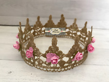 Newborn Light Pink & Gold Lace Princess Flower Crown Baby Photo Prop Cake Topper