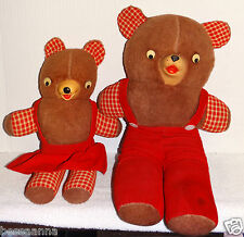 2 Matching Vintage Teddy Bears Daddy and Little Girl 1940-1950s TBV5129239