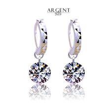 Boucles d'oreille Créoles Ciselées avec Cristal OZ Blanc Argent 925