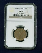 MEXICO ESTADOS UNIDOS 1938 10 CENTAVOS COIN CERTIFIED UNCIRCULATED NGC MS-64