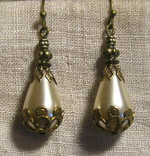 ANTIQUE STYLE BRASS FILIGREE PEARL GLASS TEARDROP EARRINGS RENAISSANCE VICTORIAN