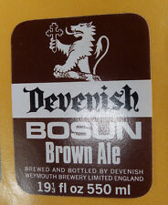 VINTAGE BRITISH BEER LABEL - DEVENISH BOSUN BROWN ALE 19 1/3 FL OZ 550ML #3