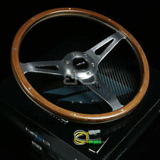 NRG 365MM STEERING WHEEL CLASSICS VINTAGE STYLE SMOOTH WOOD GRIP CHROME 3 SPOKES