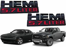 PAIR Black & Red HEMI 5.7 Liter Emblems Ram Challenger Charger New Free Shipping