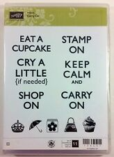 Stampin' Up! CARRY ON Clear Rubber Stamp Keep Calm Crown Cupcake Umbrella NEW