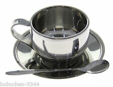 Insulated Stainless Steel Double Walled Coffee Mug Tea Cup 230ml + Saucer Spoon