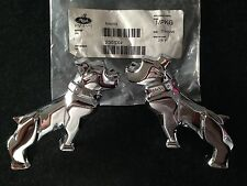 2 x Brand New Genuine Mack Trucks Silver Chrome Half Bulldog Mirror Emblems Set