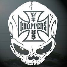 "6.0""x1PC. WEST COAST CHOPPERS SKULL HEAD DECAL STICKER DIE CUT AUTO MOTOR SPORTS"