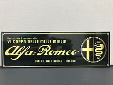 ALFA ROMEO MILLE MIGLIA rare garage man cave advertising sign baked